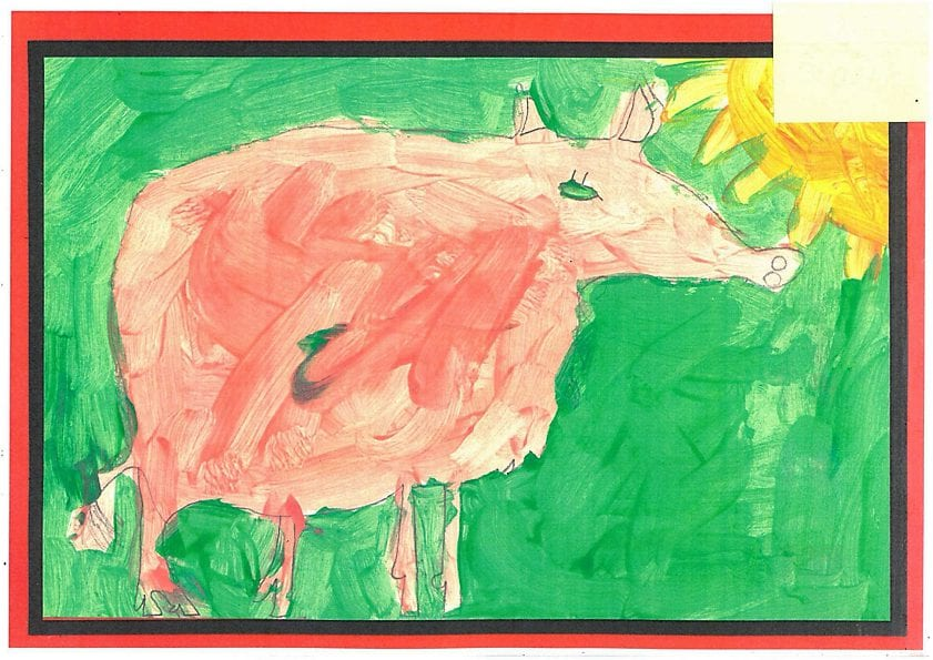 micro pig painting by children