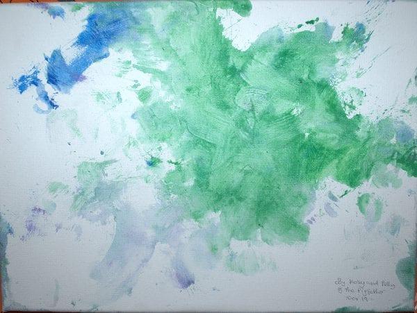 a green flower piggy painting