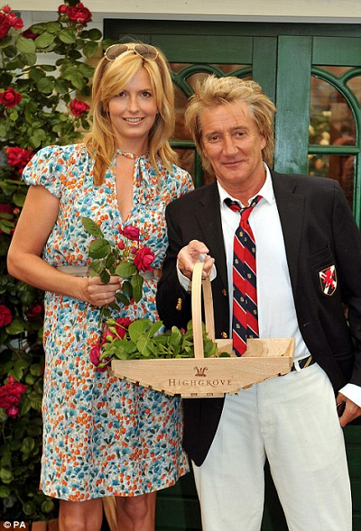 borrow my piggy with Rod Stewart and Penny Lancaster at Durrington House